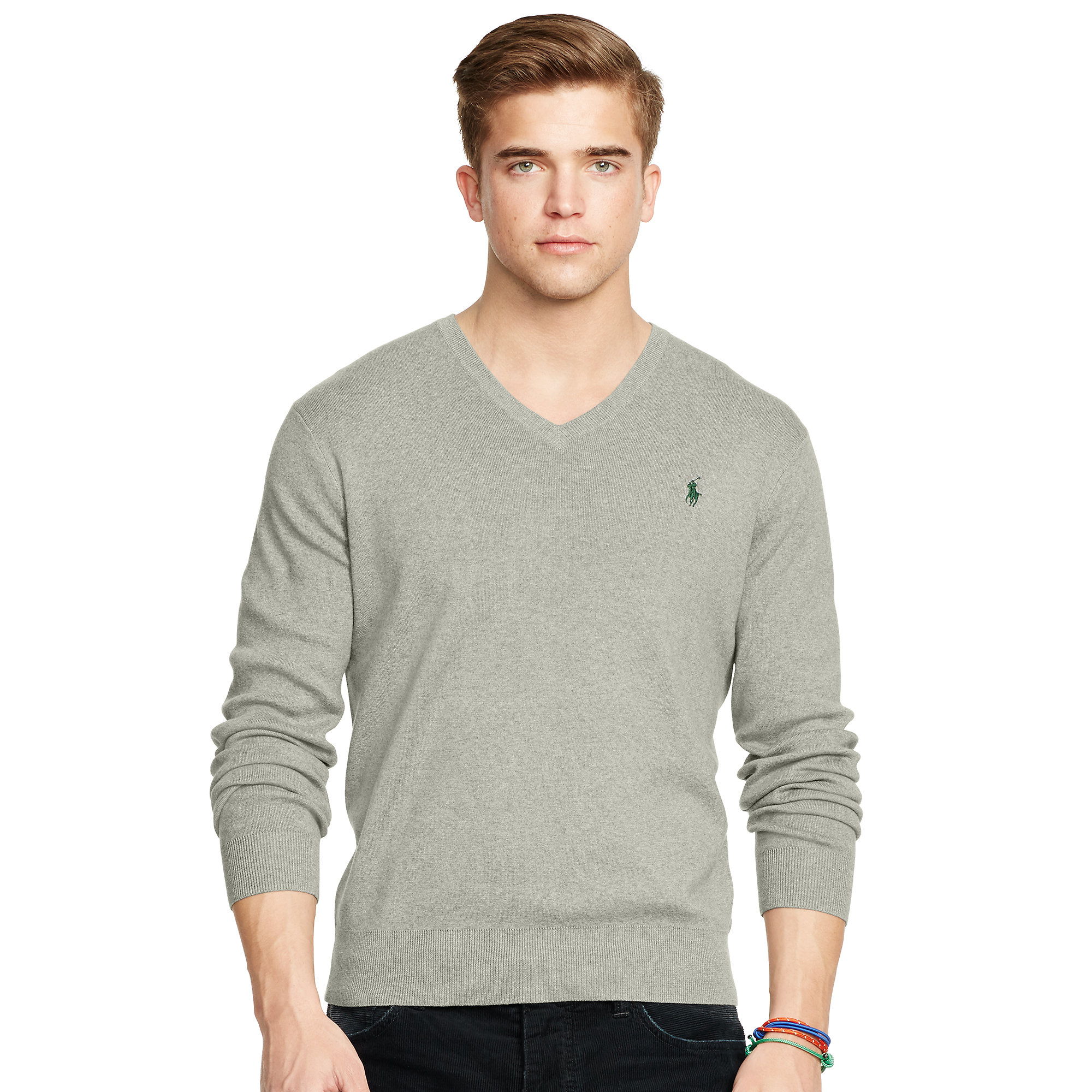 Polo ralph lauren Pima Cotton V-neck Sweater in Gray for Men | Lyst
