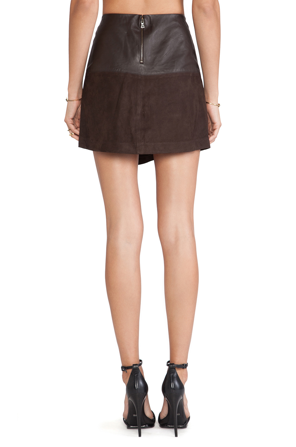 Alice   olivia Leather Wrap Mini Skirt in Brown | Lyst