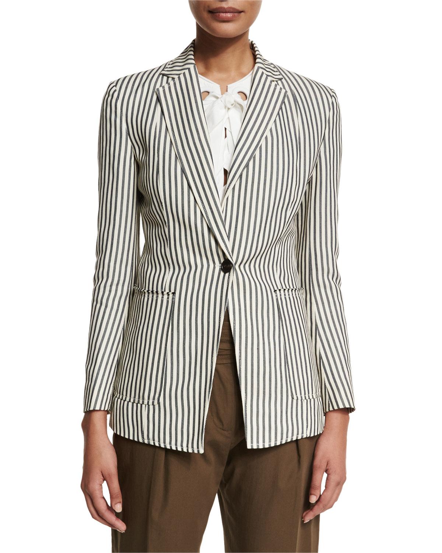 3 1 Phillip Lim Striped Single Button Blazer In Blue Lyst