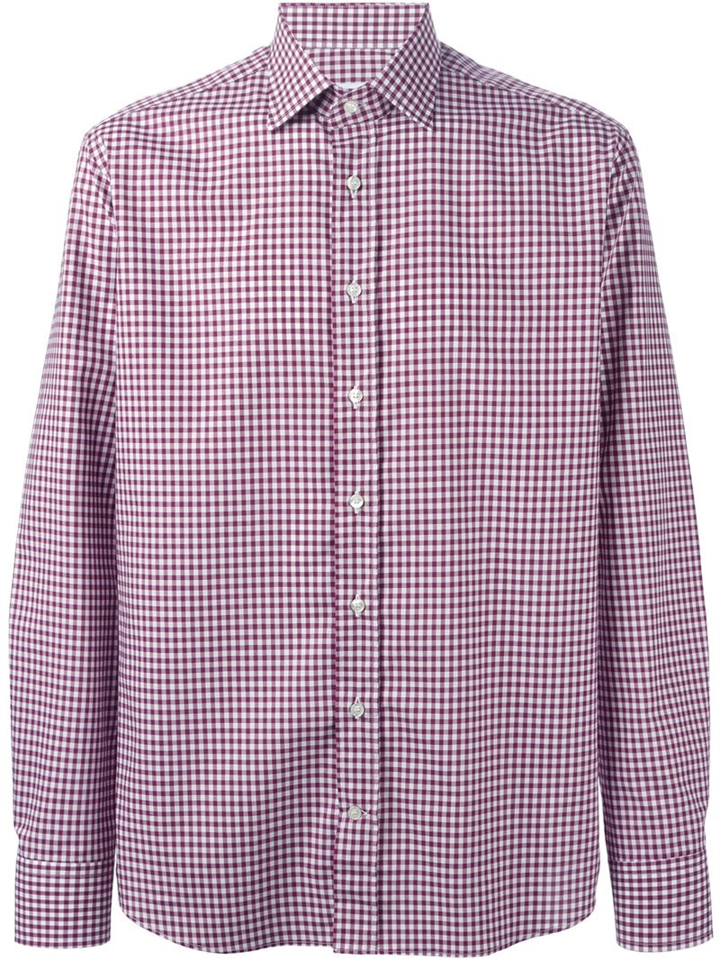 Etro gingham check shirt in purple for men lyst for Men s purple gingham shirt