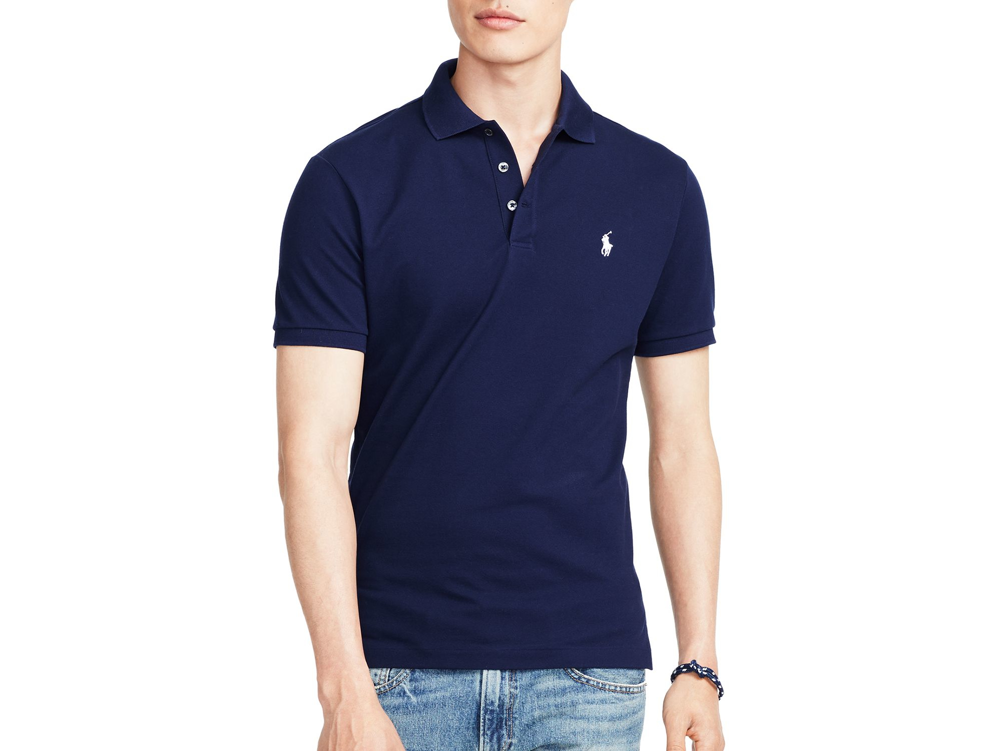 3ee36acd Ralph Lauren Polo Stretch-mesh Slim Fit Polo Shirt in Blue for Men ...