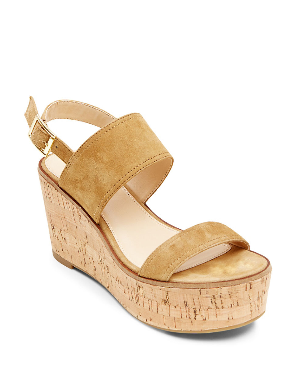 9b0c8e4b00d4 Steve Madden Catlyn Suede Platform Wedge Sandals in Natural - Lyst