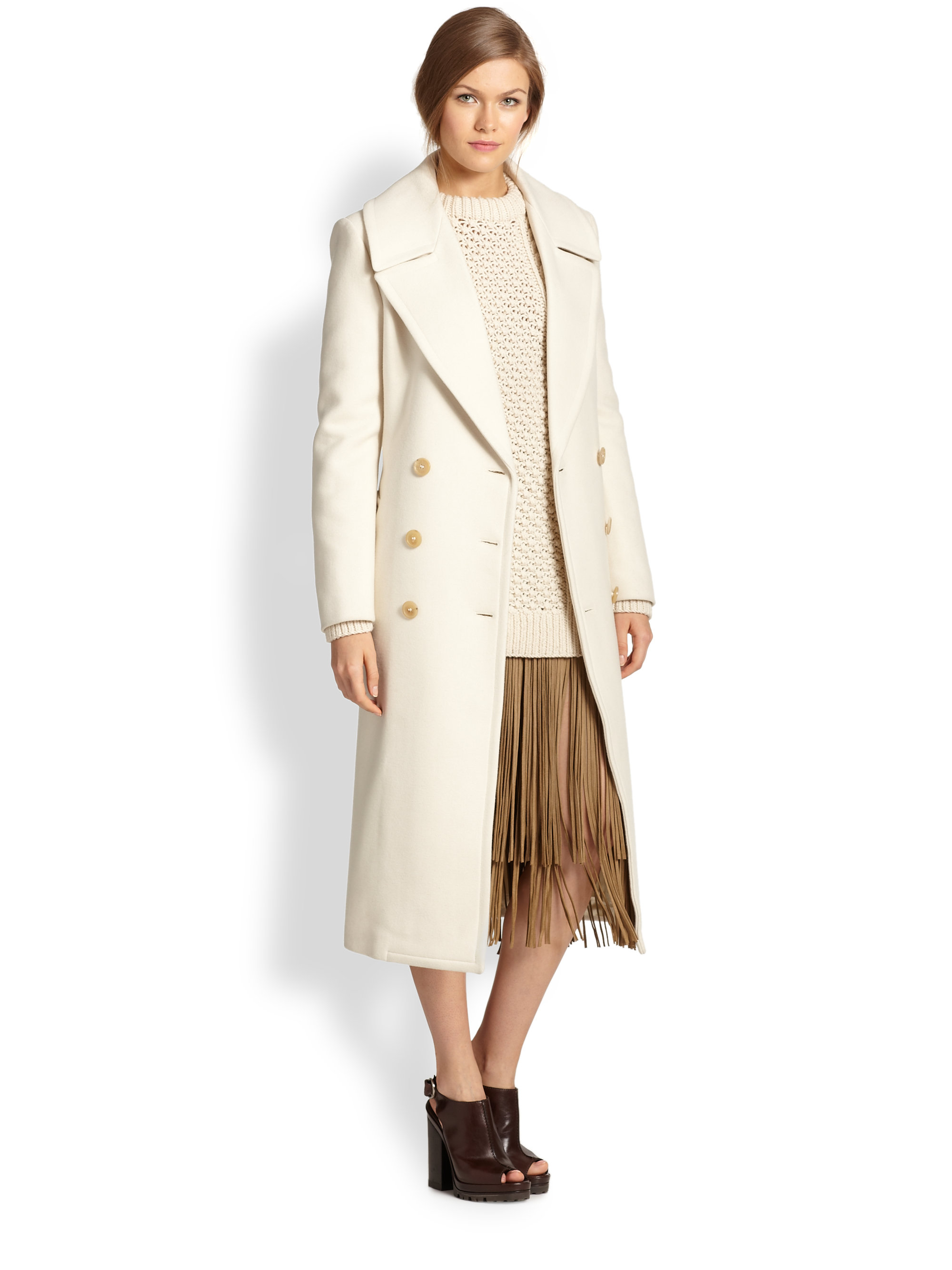 Michael kors Doublebreasted Wool Coat in White | Lyst