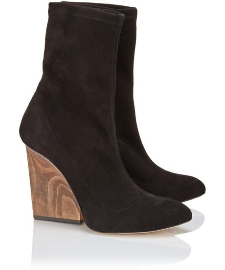 maiyet black suede wooden heel boots in black lyst