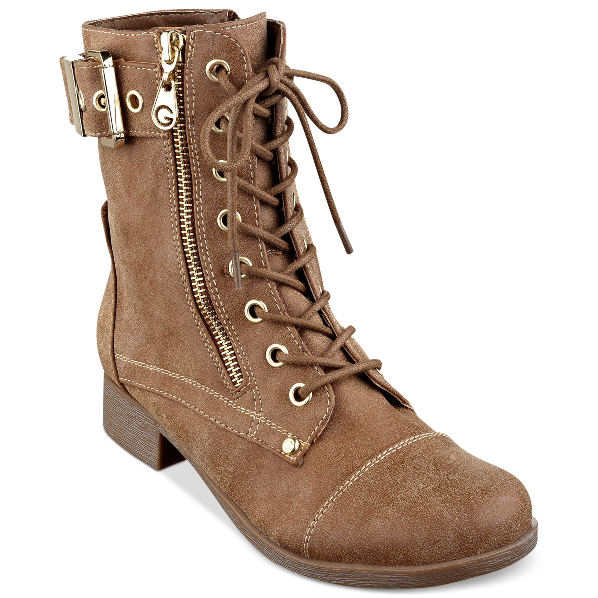 Guess Combat Boots For Women Excellent Purple Guess