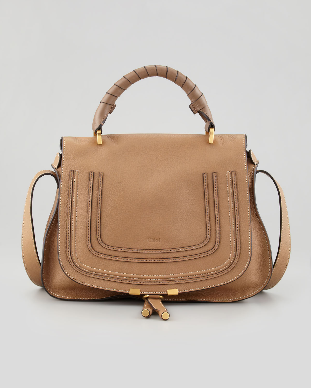 chlo marcie medium satchel bag with shoulder strap tan in brown tan lyst. Black Bedroom Furniture Sets. Home Design Ideas