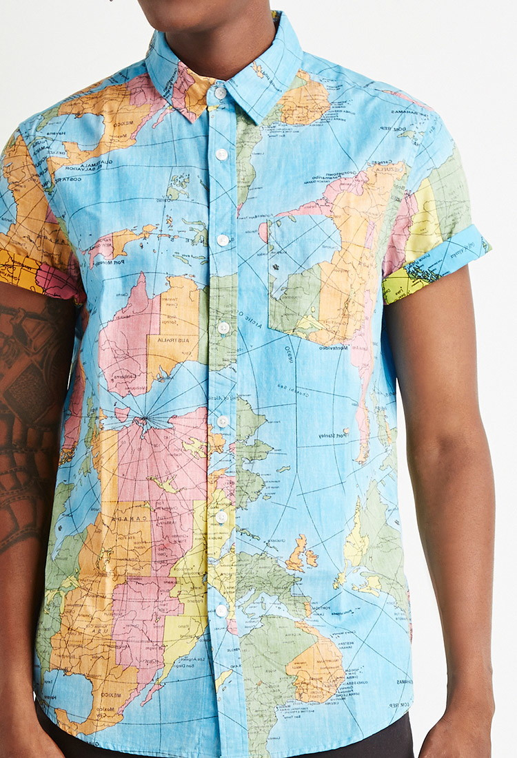Lyst forever 21 reverse map print cotton shirt in blue for men gallery gumiabroncs Gallery