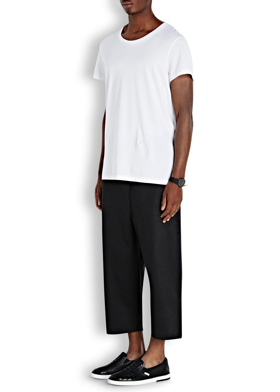 a32f770a05e5 Blood Brother Swift Cropped Wide-Leg Twill Trousers in Black for Men ...