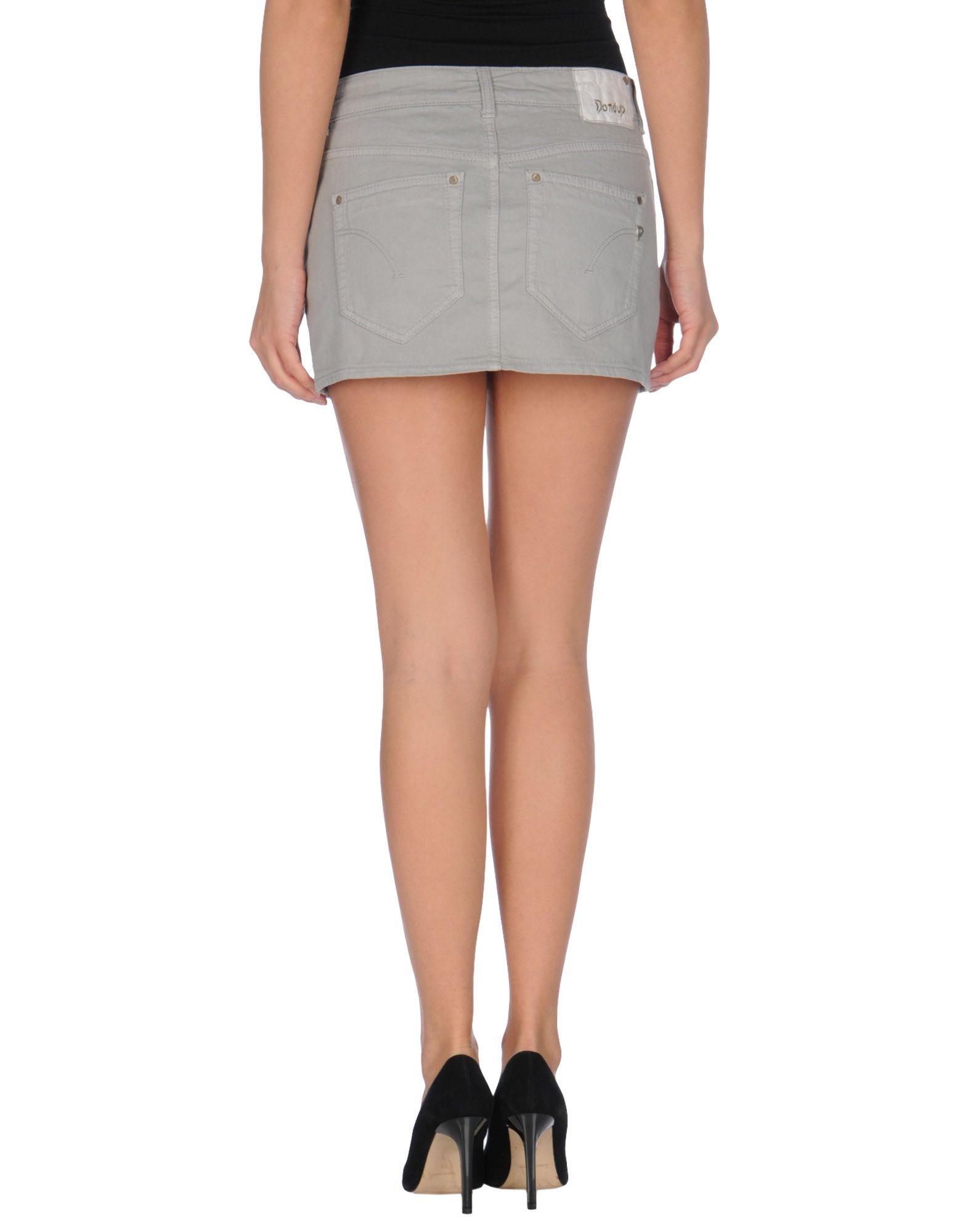 dondup denim skirt in gray light grey lyst