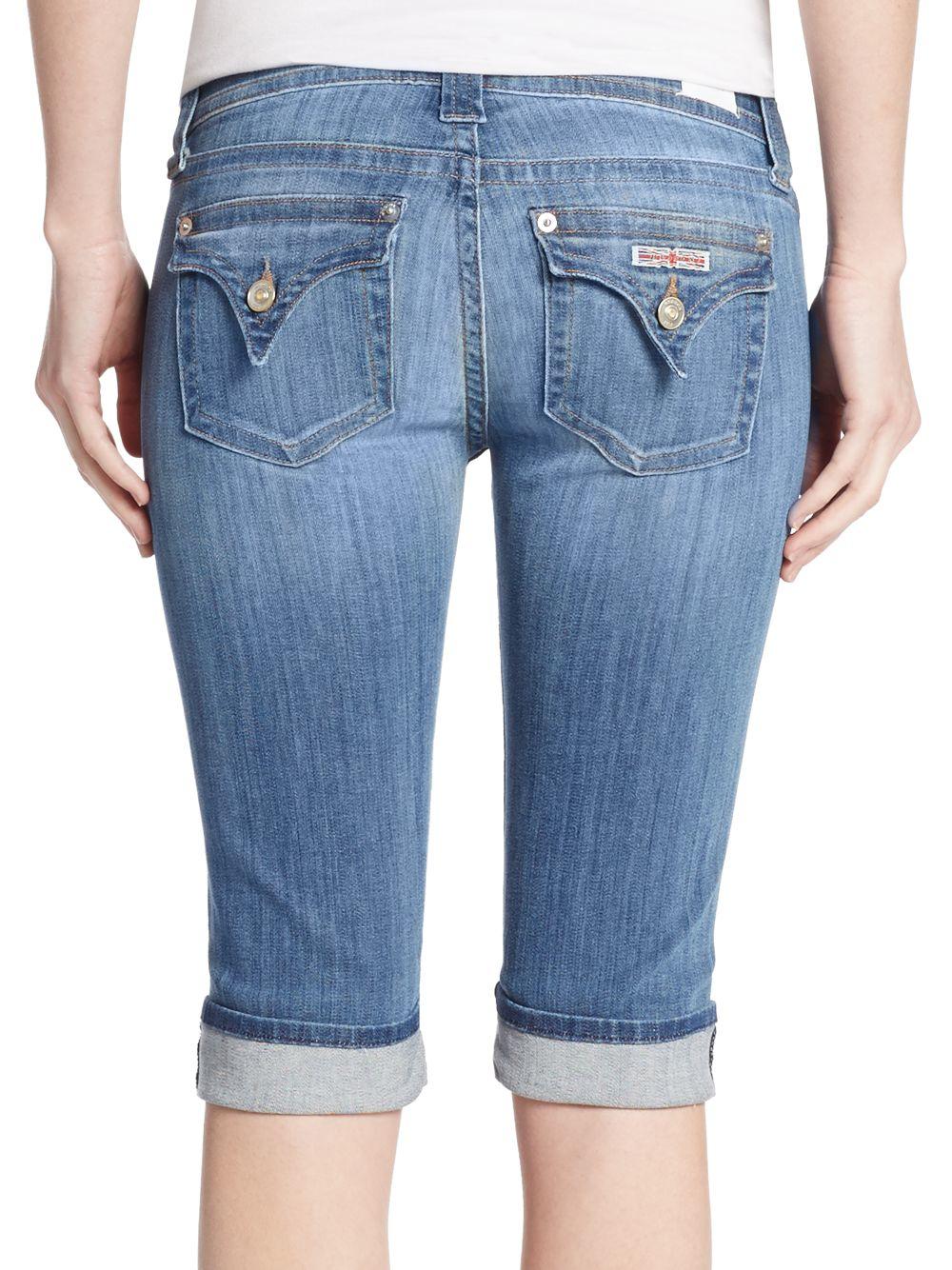 Hudson jeans Knee Cuffed Denim Bermuda Shorts in Blue | Lyst