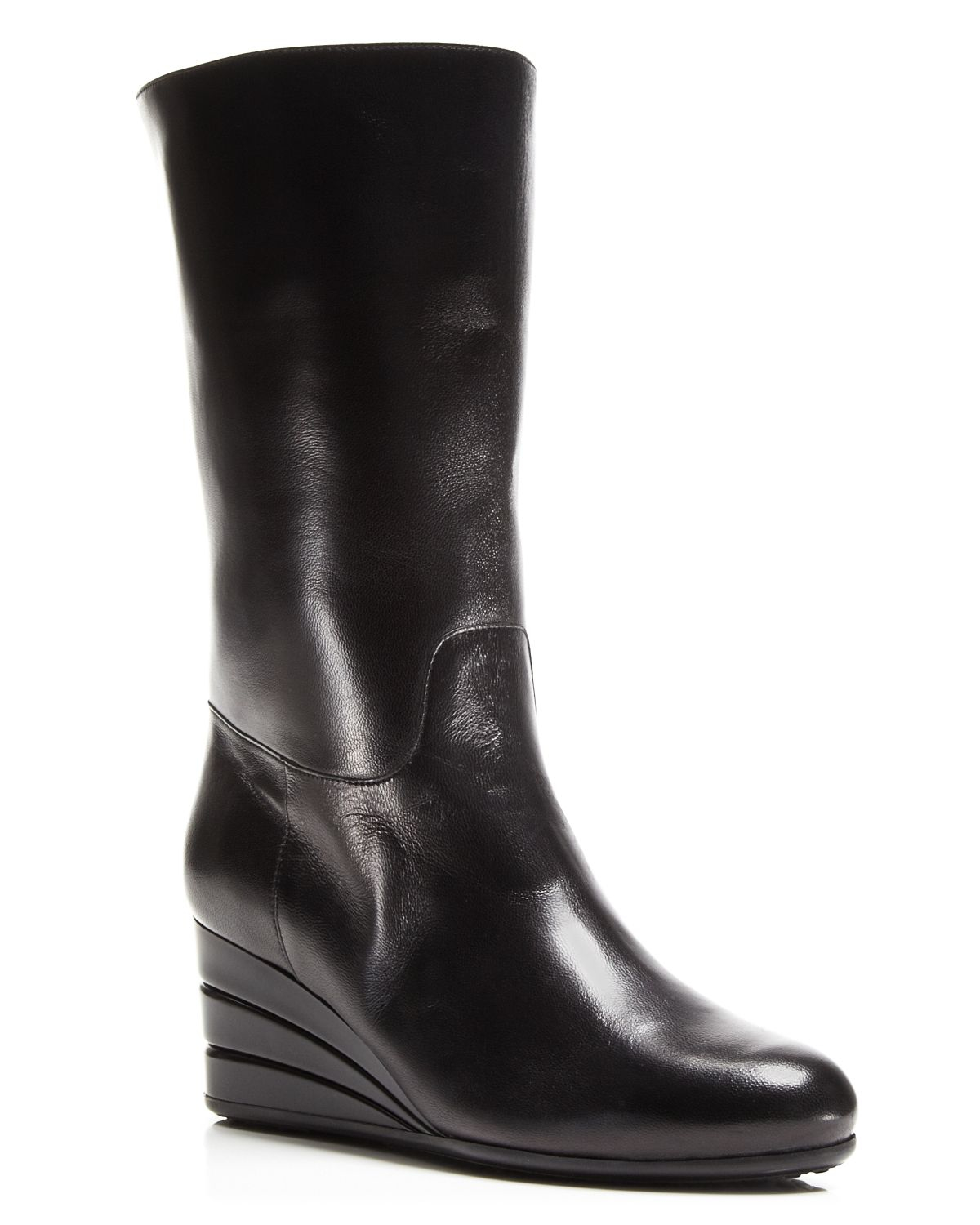 ferragamo my winter leather wedge boots in black lyst