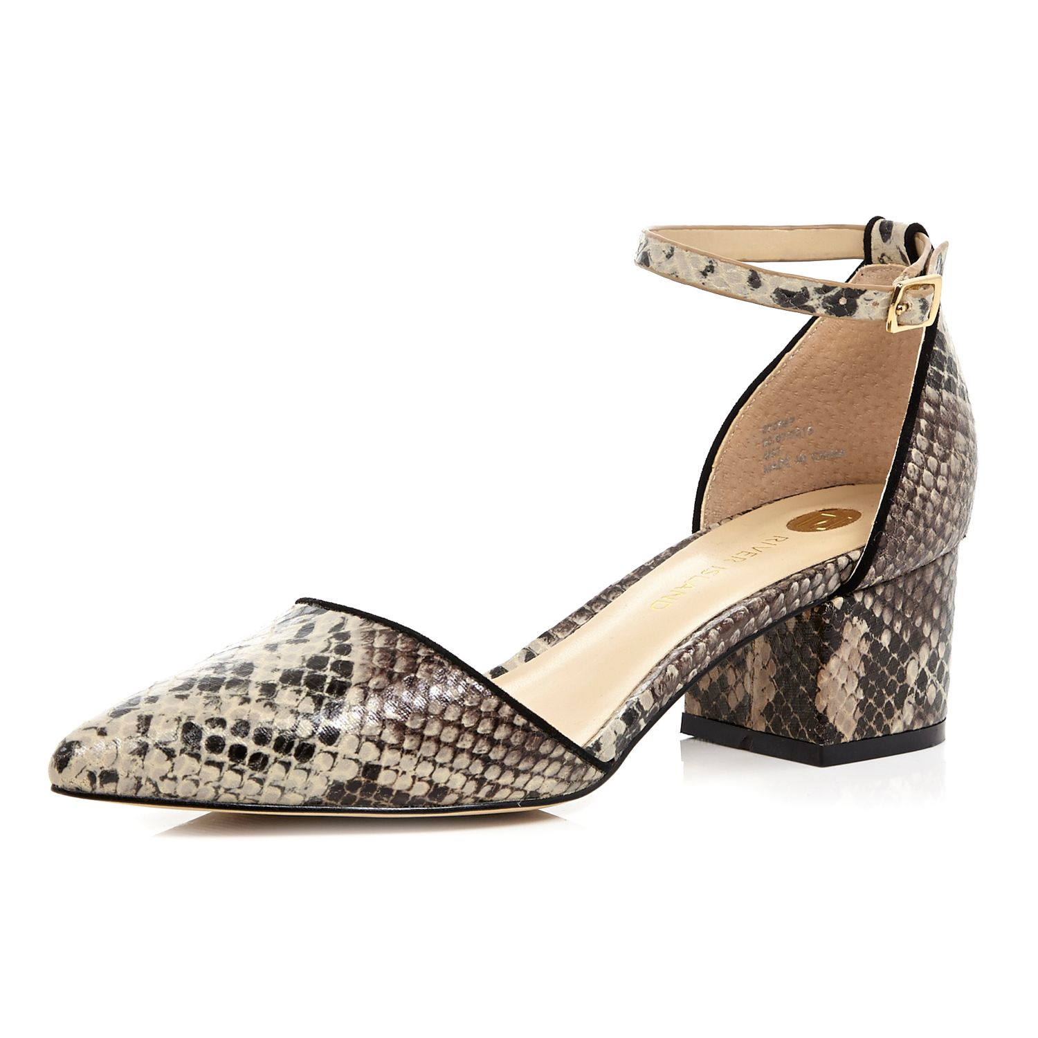 6ab734f2a7bc8d River island beige snake print block heel shoes in natural lyst jpg  1500x1500 Snake print shoes