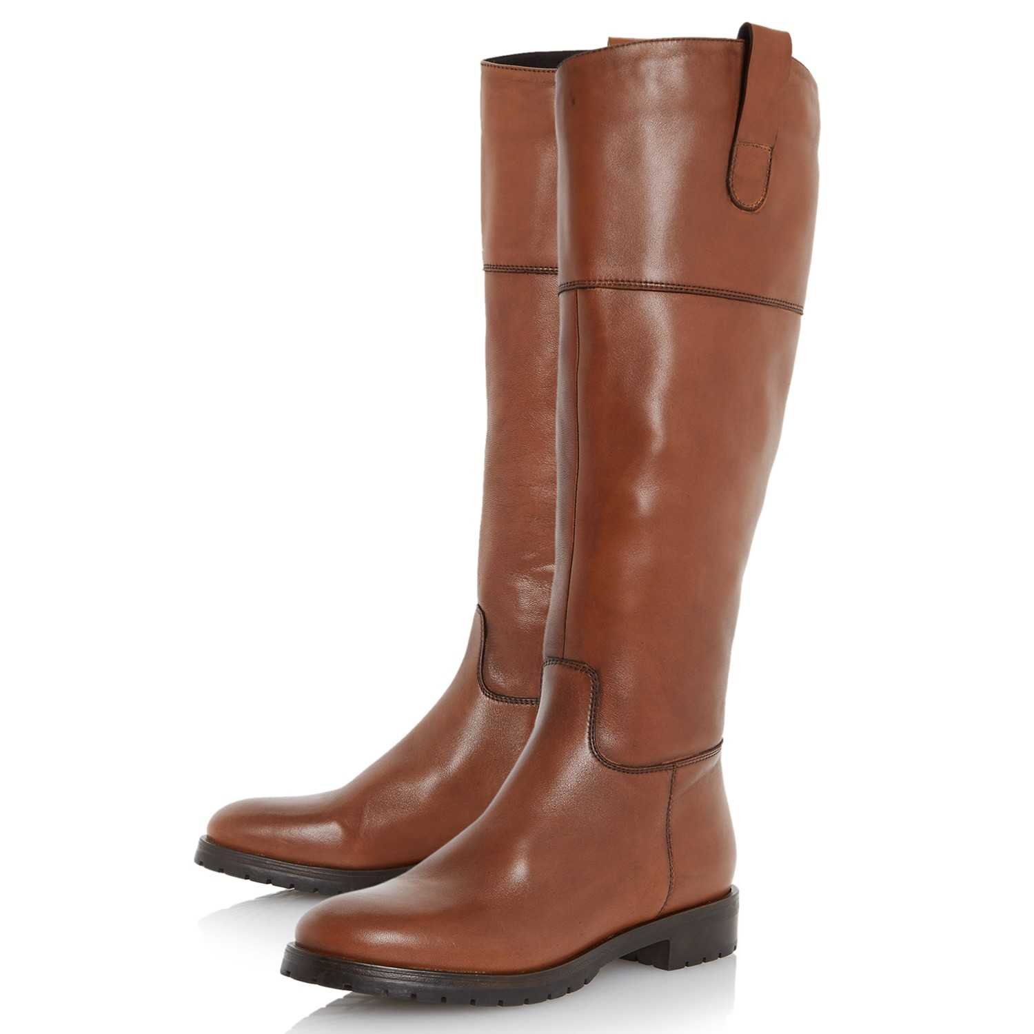 dune timi knee high heeled boots in brown brown