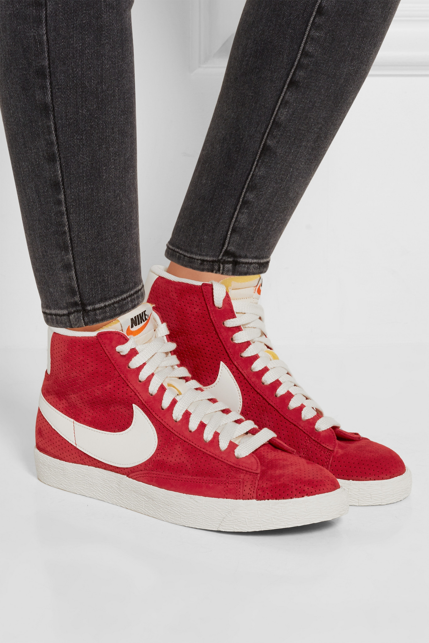 the best attitude 50933 07c4b Nike Blazer Perforated Suede High-top Sneakers in Red - Lyst
