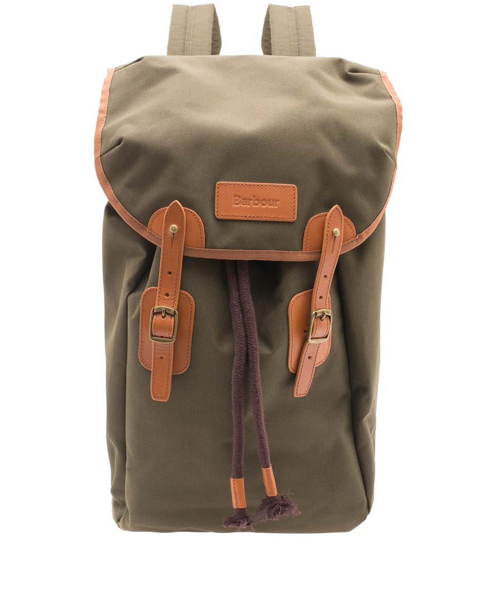 Lyst Barbour Olive Lachie Waxed Cotton Backpack In Green