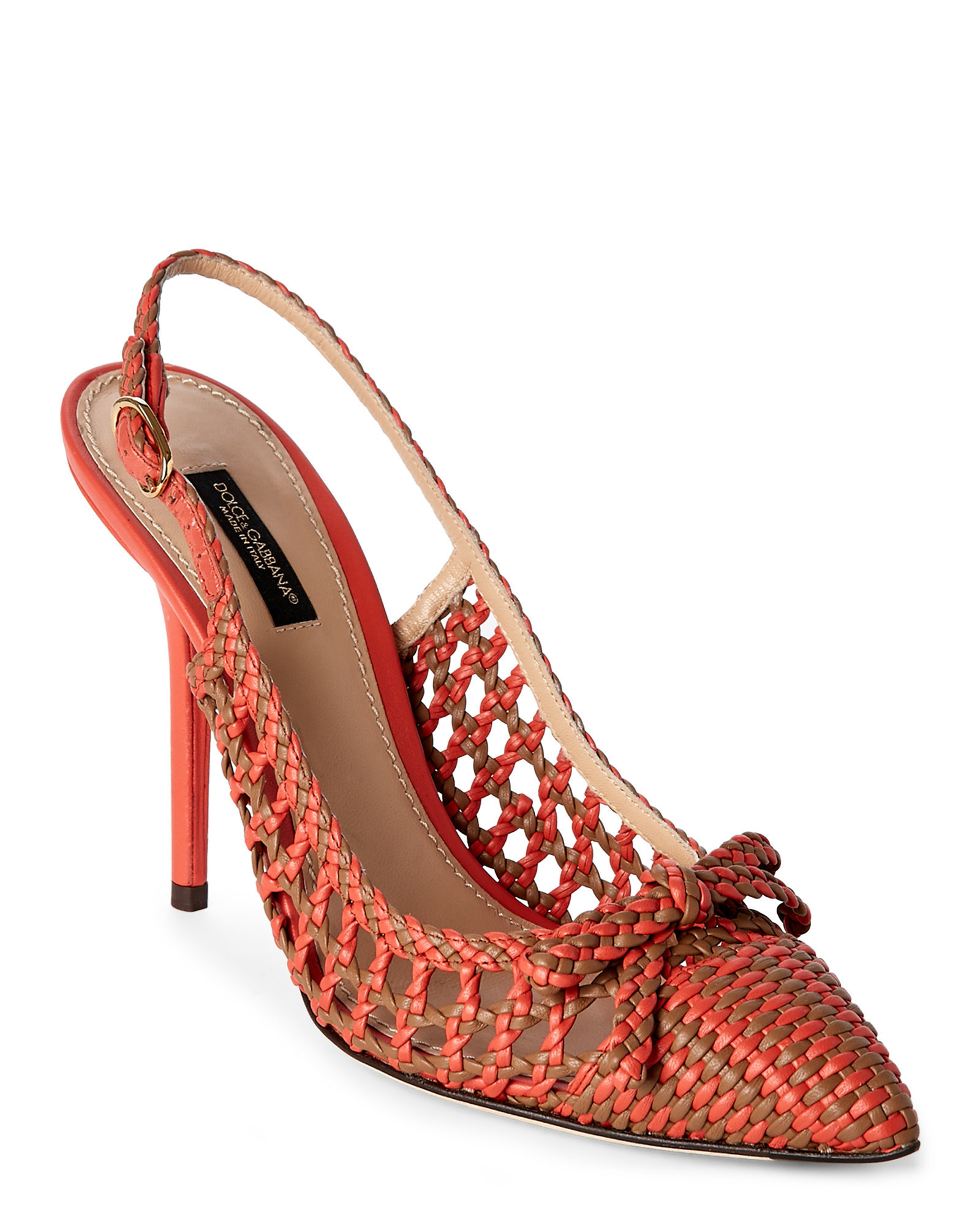 Lyst Dolce Amp Gabbana Woven Leather Bellucci Slingback