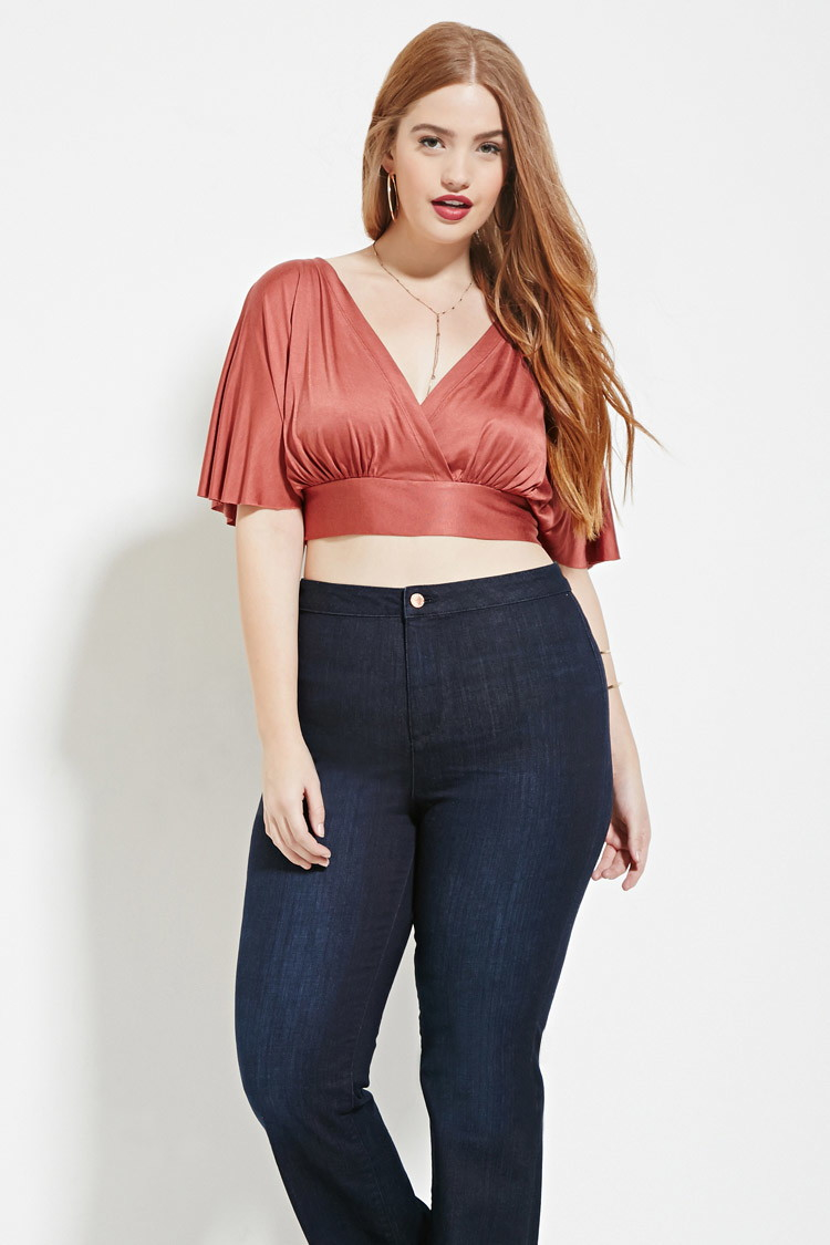 Forever 21 Plus Size Surplice Crop Top In Red | Lyst