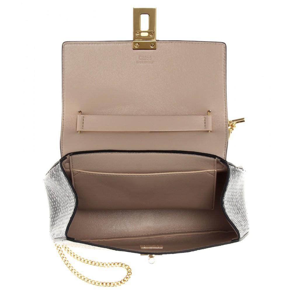 Chlo¨¦ Drew Snakeskin Shoulder Bag in Gray (grey) | Lyst