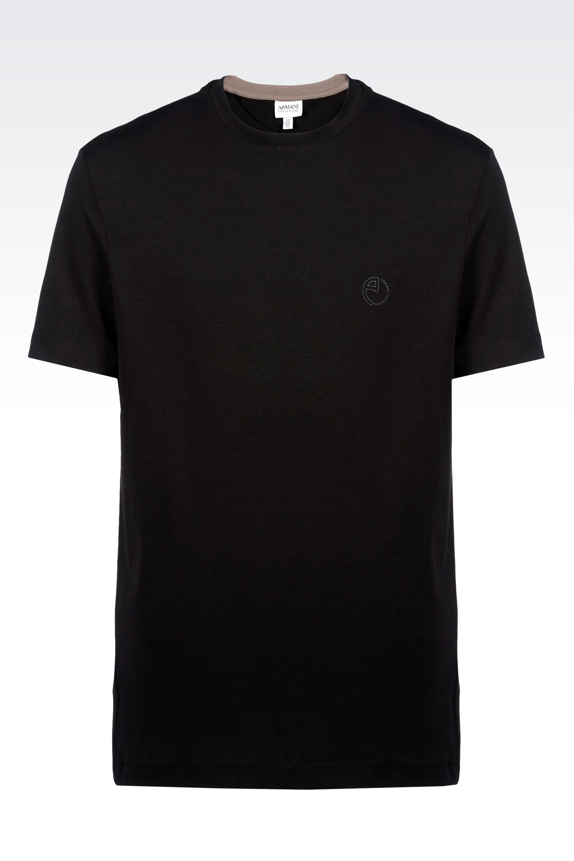 armani t shirt in single jersey in black for men lyst. Black Bedroom Furniture Sets. Home Design Ideas