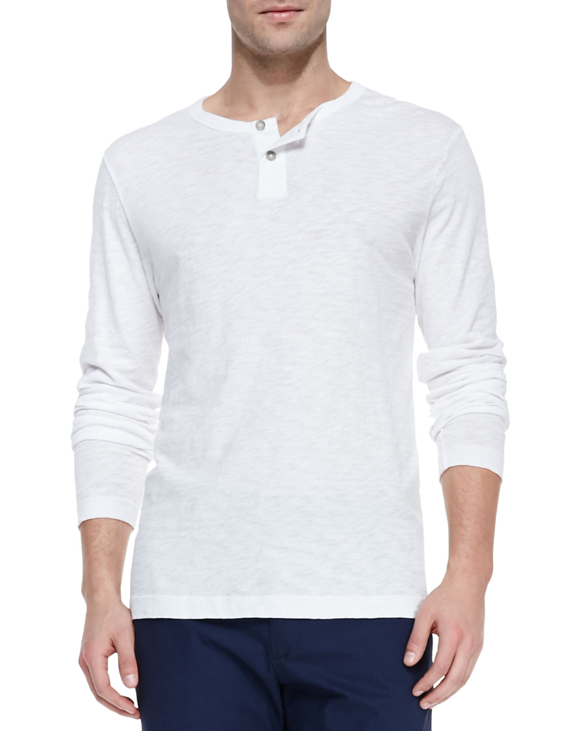 Theory long sleeve two button henley shirt in white for for Long sleeve henley shirts for men