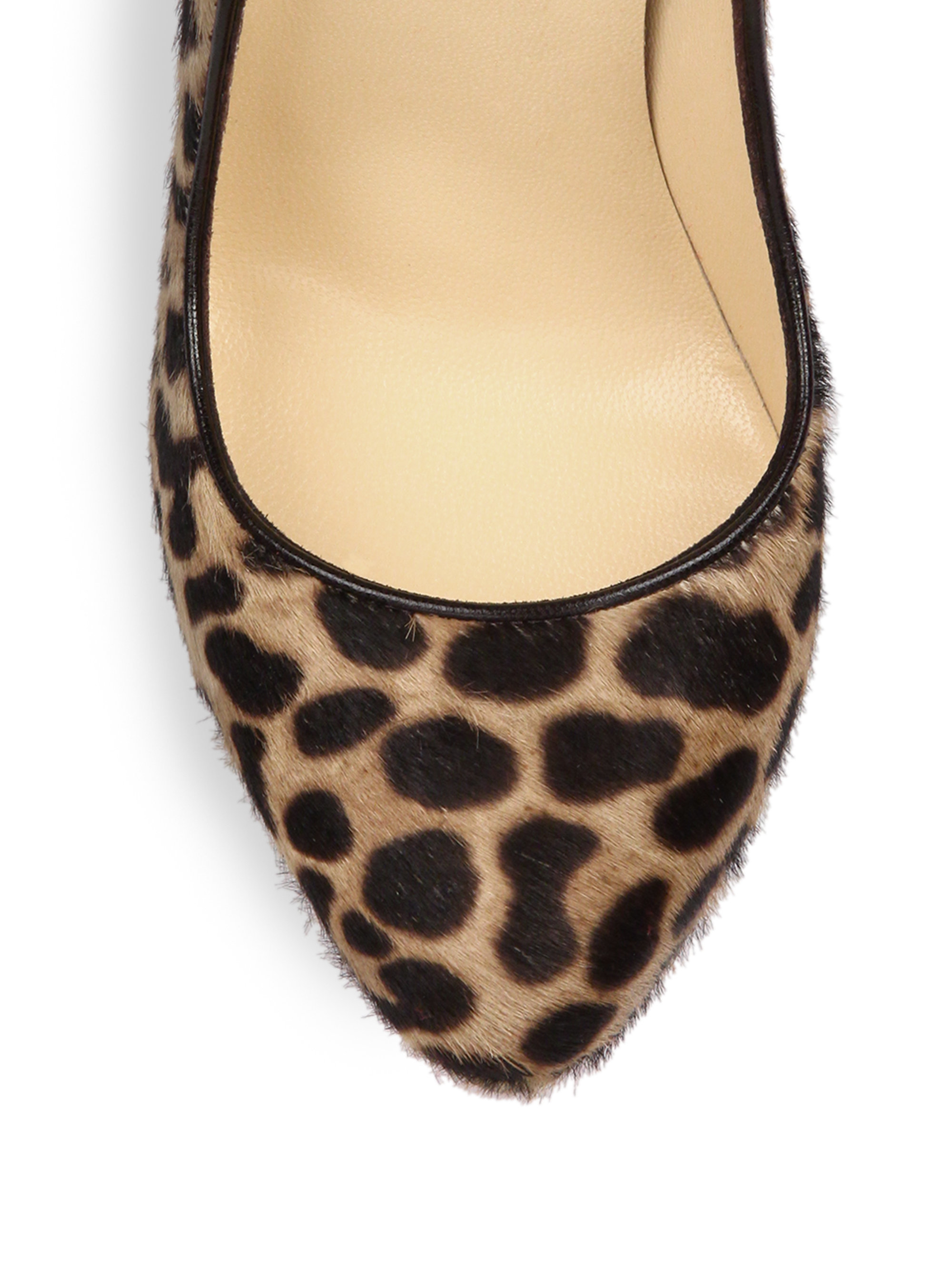 christian louboutin loafer pumps Brown and beige ponyhair animal ...