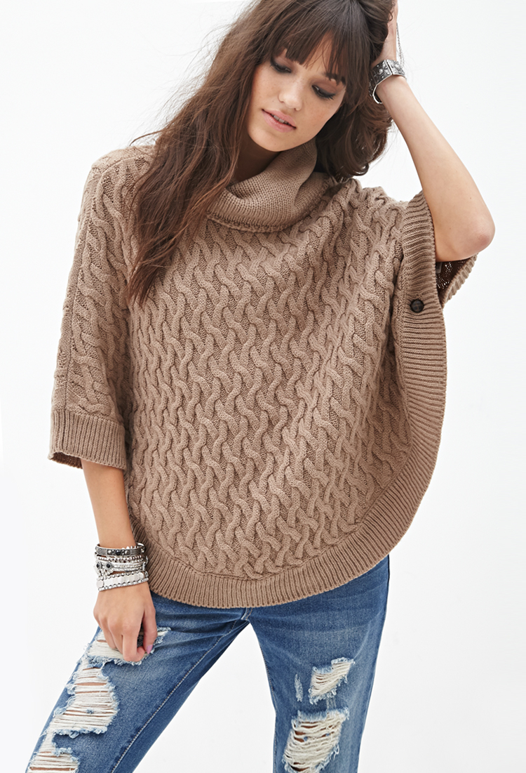 Forever 21 Cable Knit Poncho in Brown | Lyst
