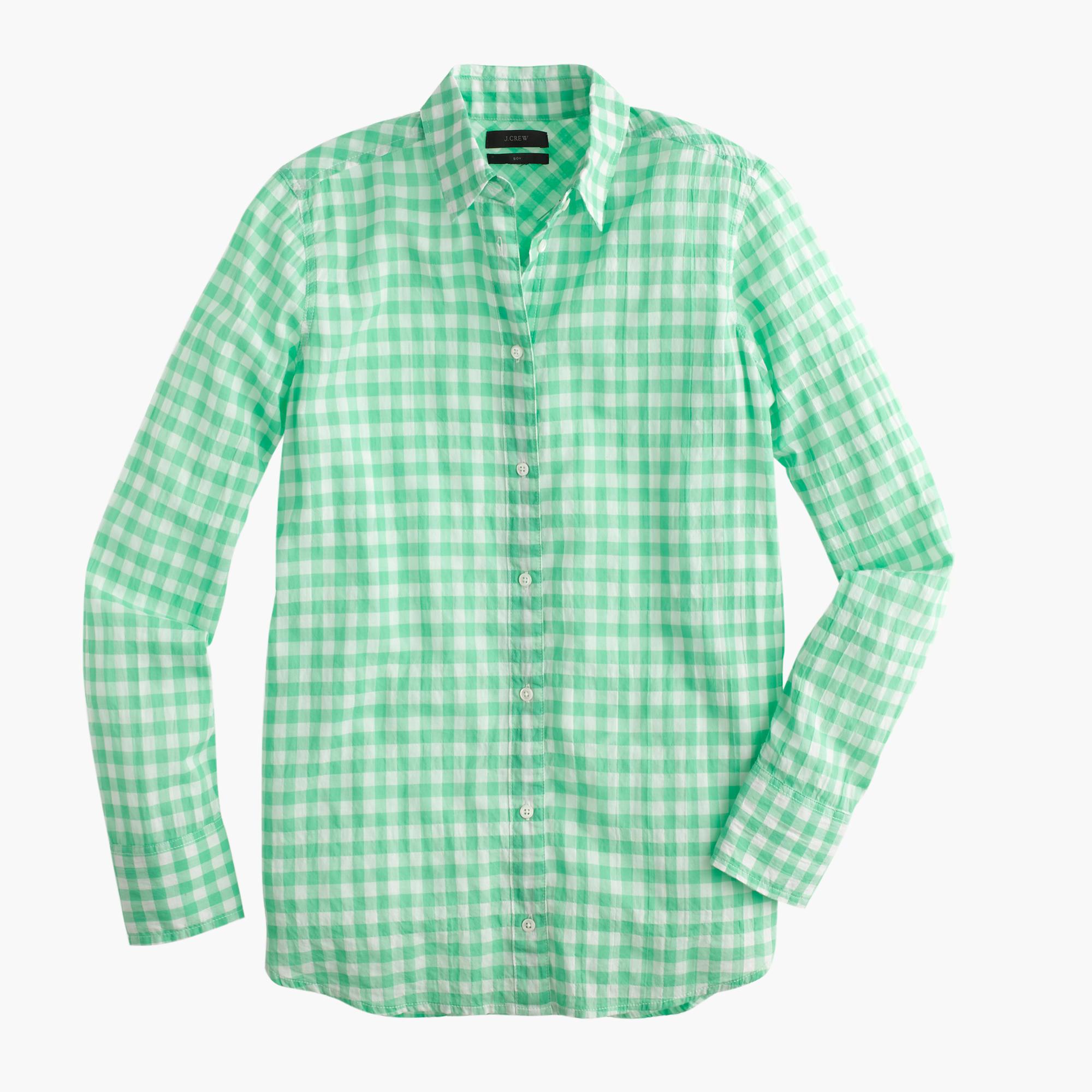 Boy Shirt In Crinkle Gingham In Green Neon Seamist