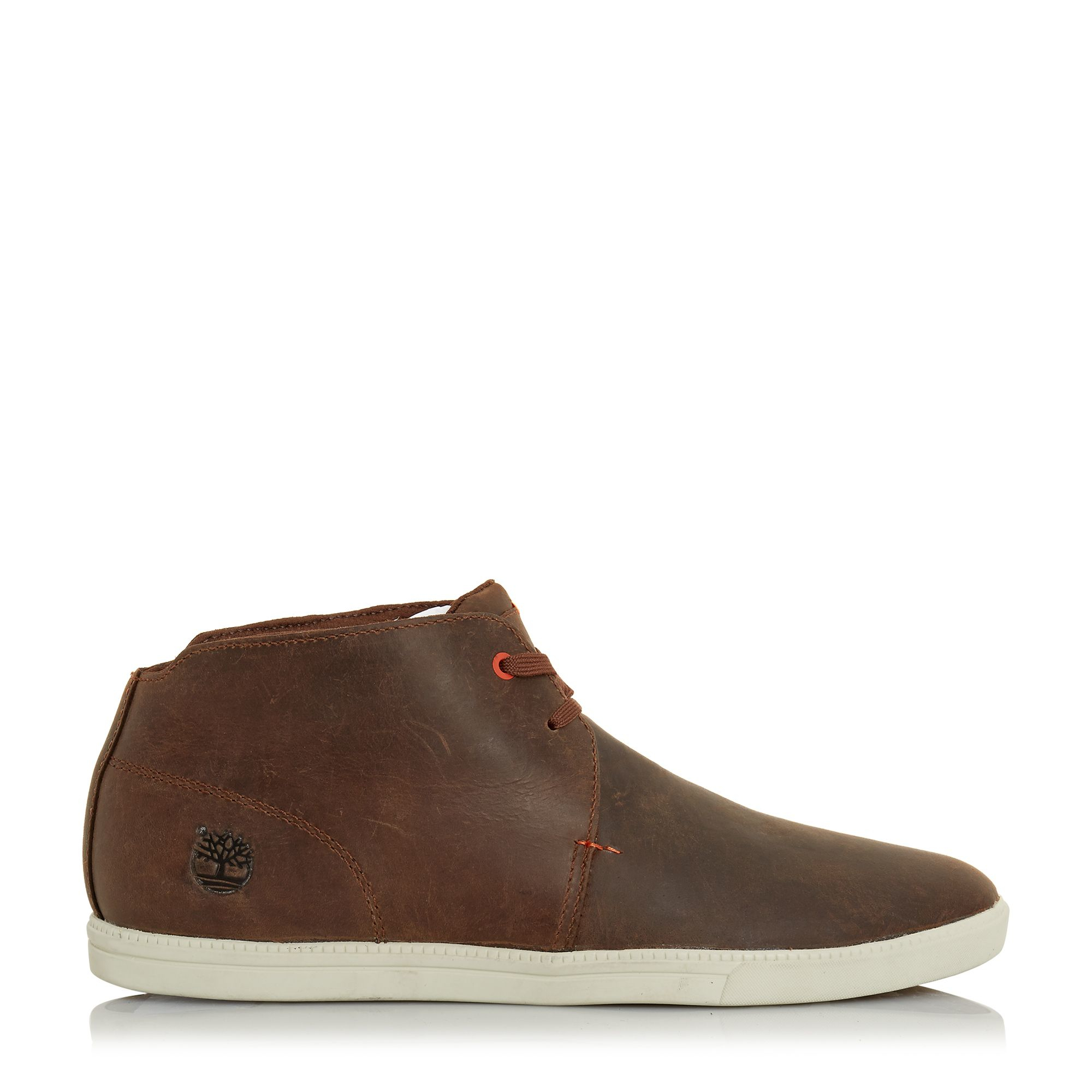 timberland leather lace up chukka boots in brown for
