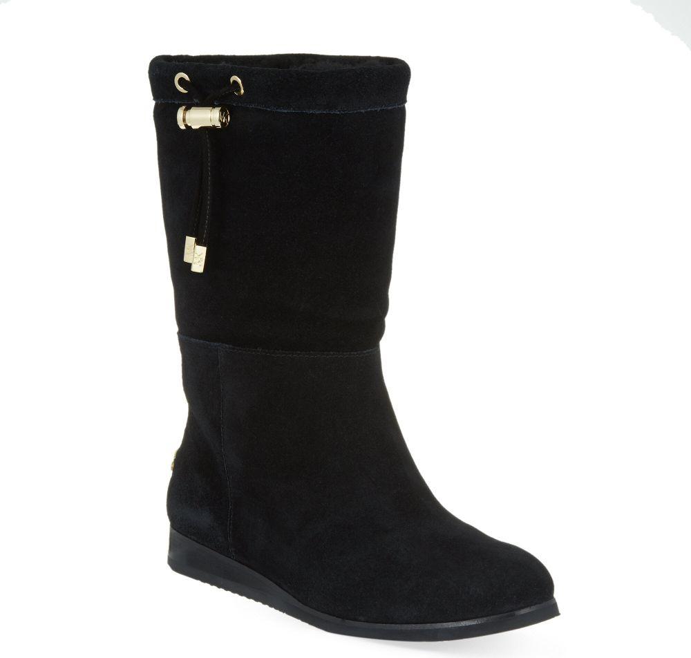 michael michael kors lizzie suede boots in black lyst