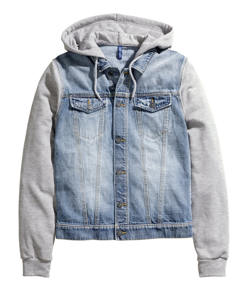 Hu0026m Denim Jacket With A Hood in Blue for Men | Lyst