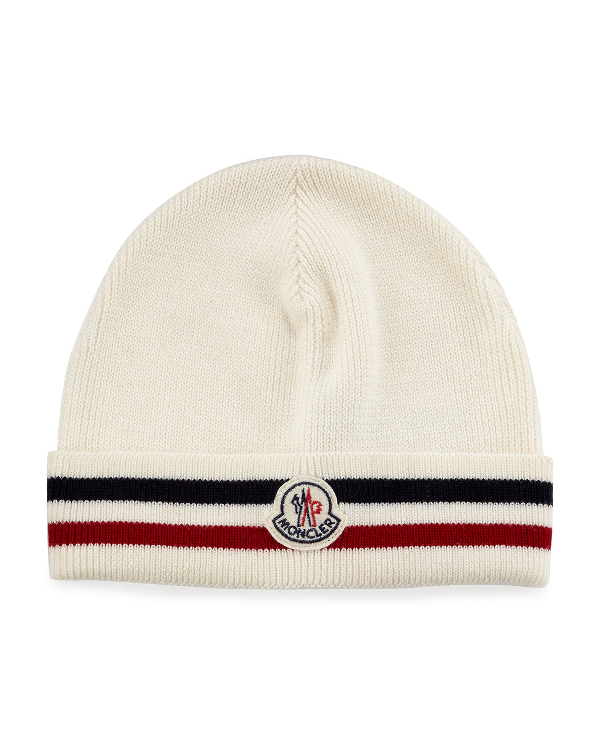 Lyst - Moncler Striped Logo Cashmere Beanie Hat in White for Men 946729ba95a