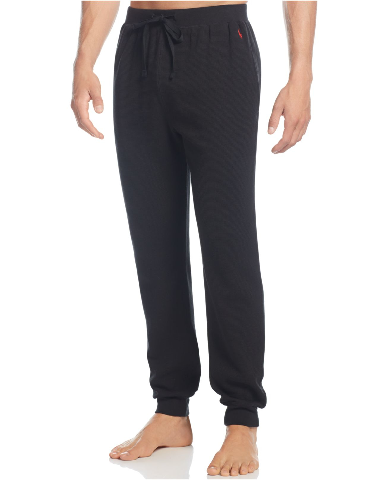 polo ralph lauren thermal jogger pants in black for men