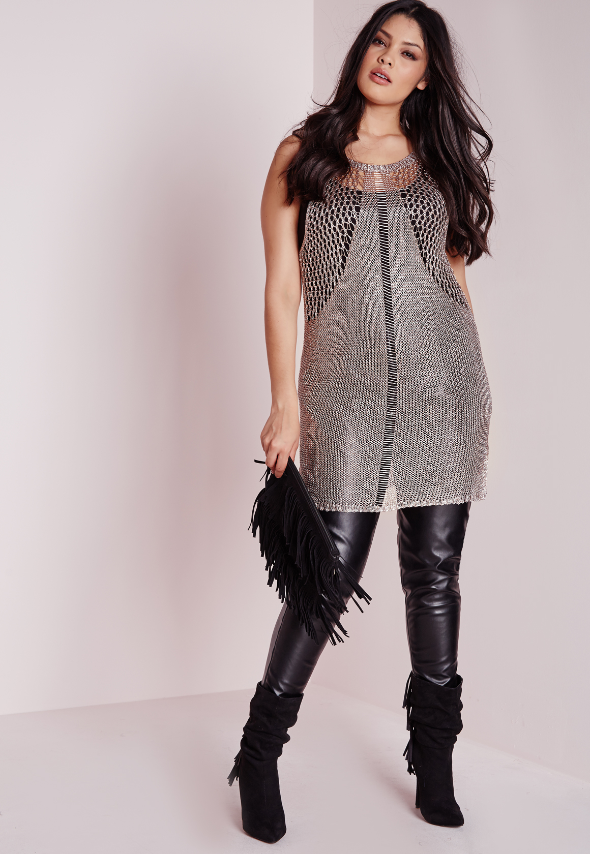 Missguided Plus Size Sparkle Knitted Vest Rose Gold in ...