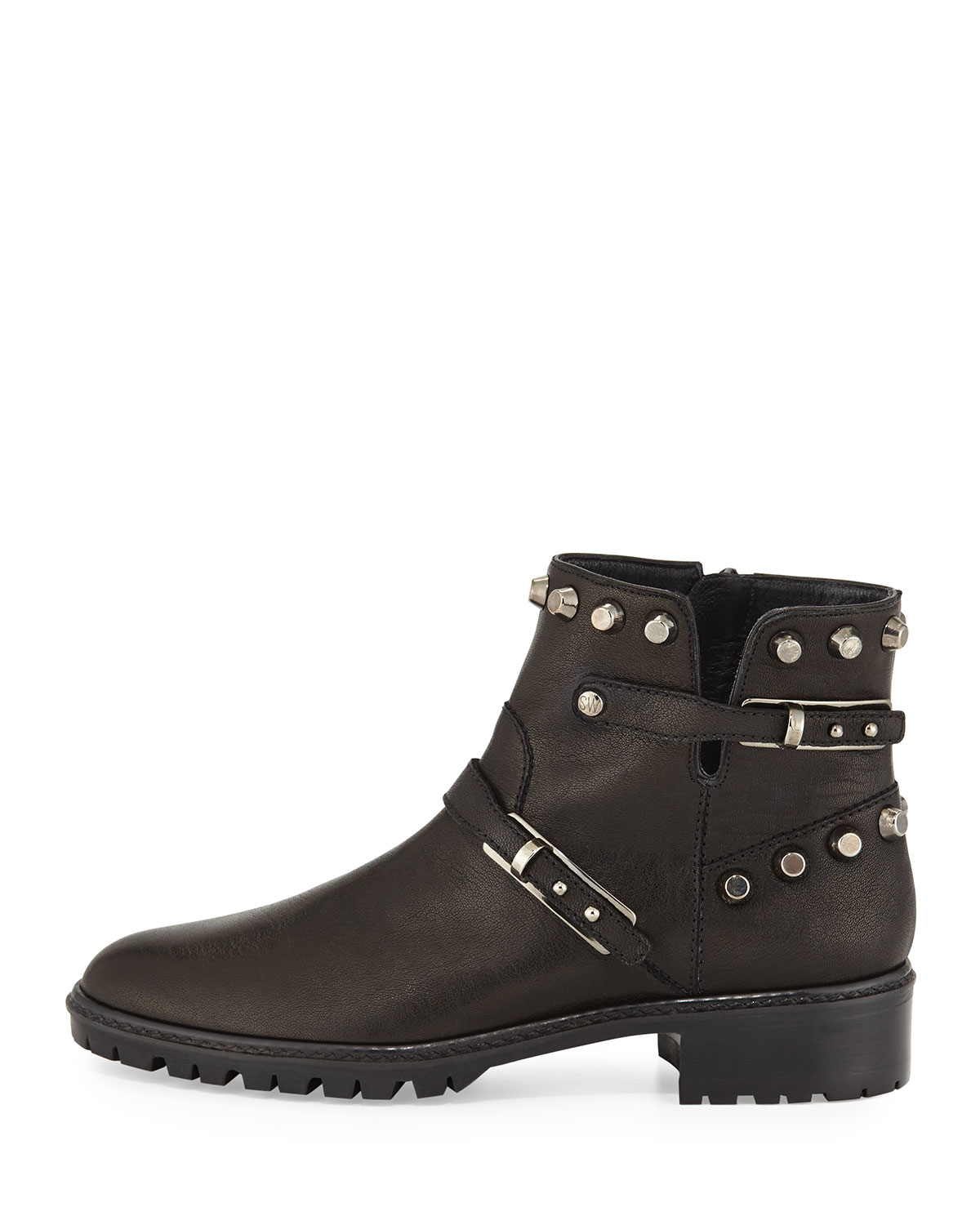 stuart weitzman go west studded leather ankle boots in
