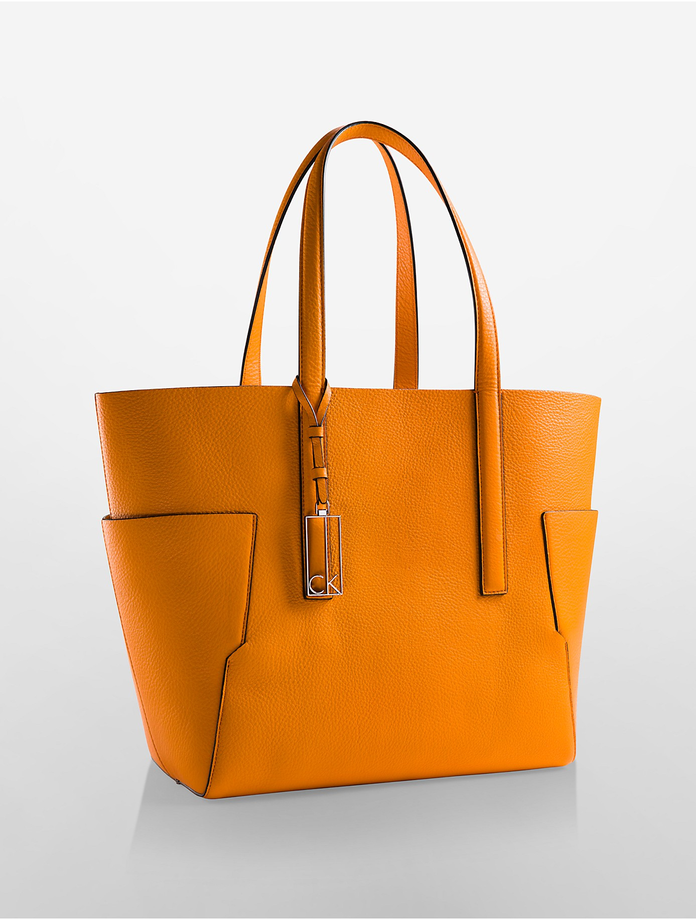 Calvin klein Arslyne Leather Shopper Tote in Orange | Lyst