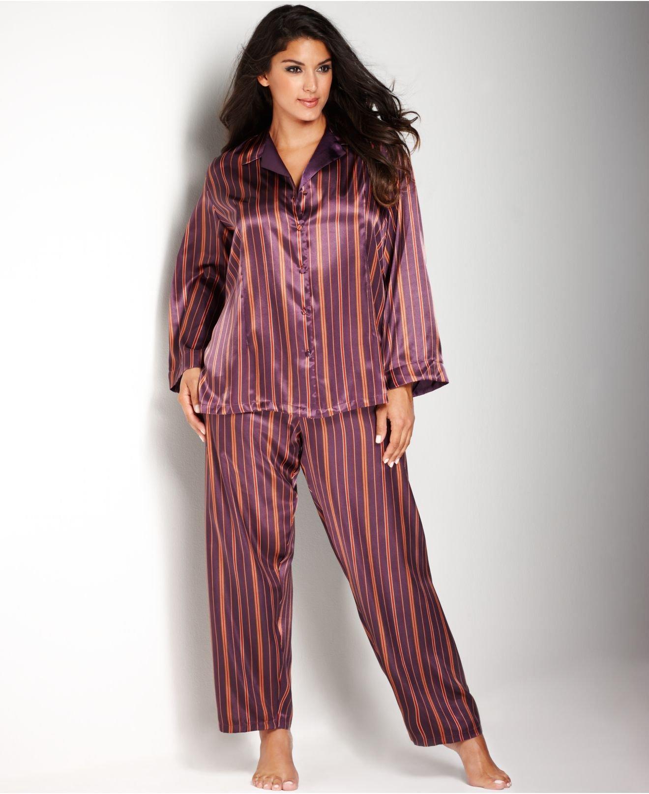 5a907f5596c59 Lyst - Jones New York Plus Size Printed Satin Pajama Set in Purple