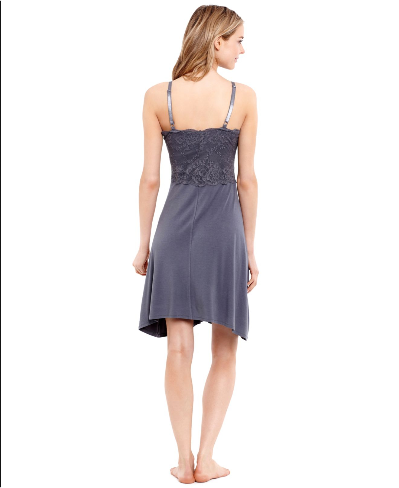 Jessica simpson maternity lace nursing nightgown in gray lyst gallery ombrellifo Gallery