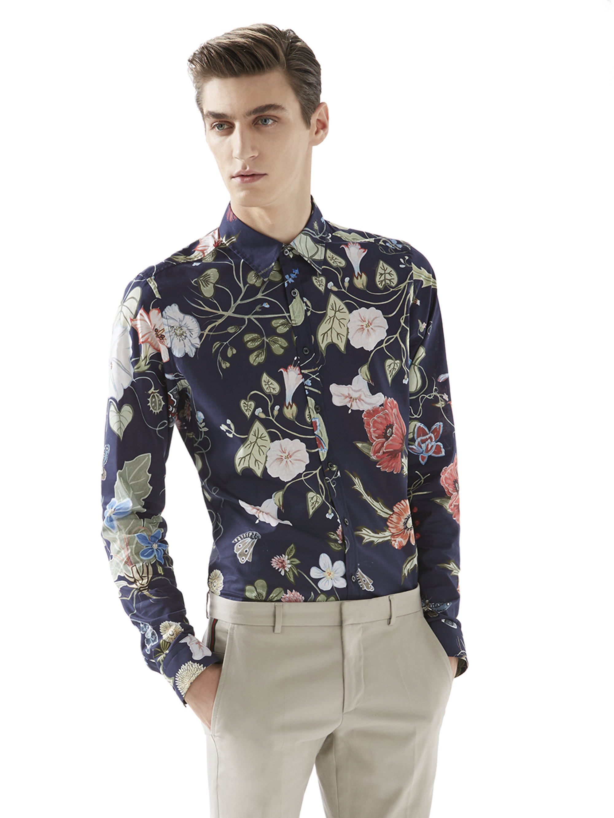 Lyst Gucci Flora Knight Print Shirt In Blue For Men