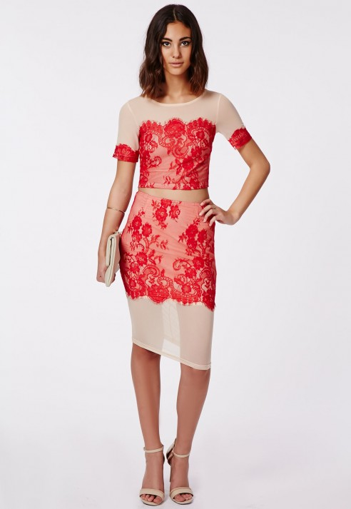 Missguided Rita Red Lace Midi Skirt Nude in Red | Lyst