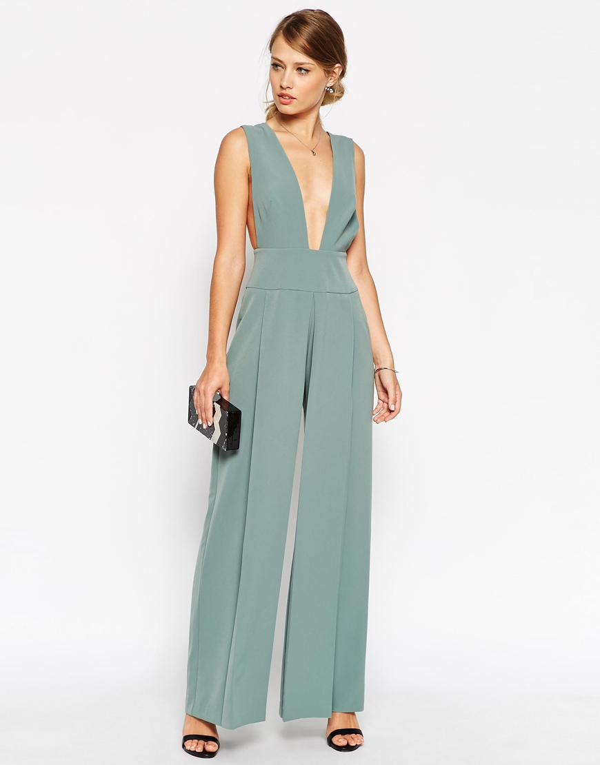 d04ca94486a Lyst - ASOS Jumpsuit With Deep Plunge With Obi Belt in Green