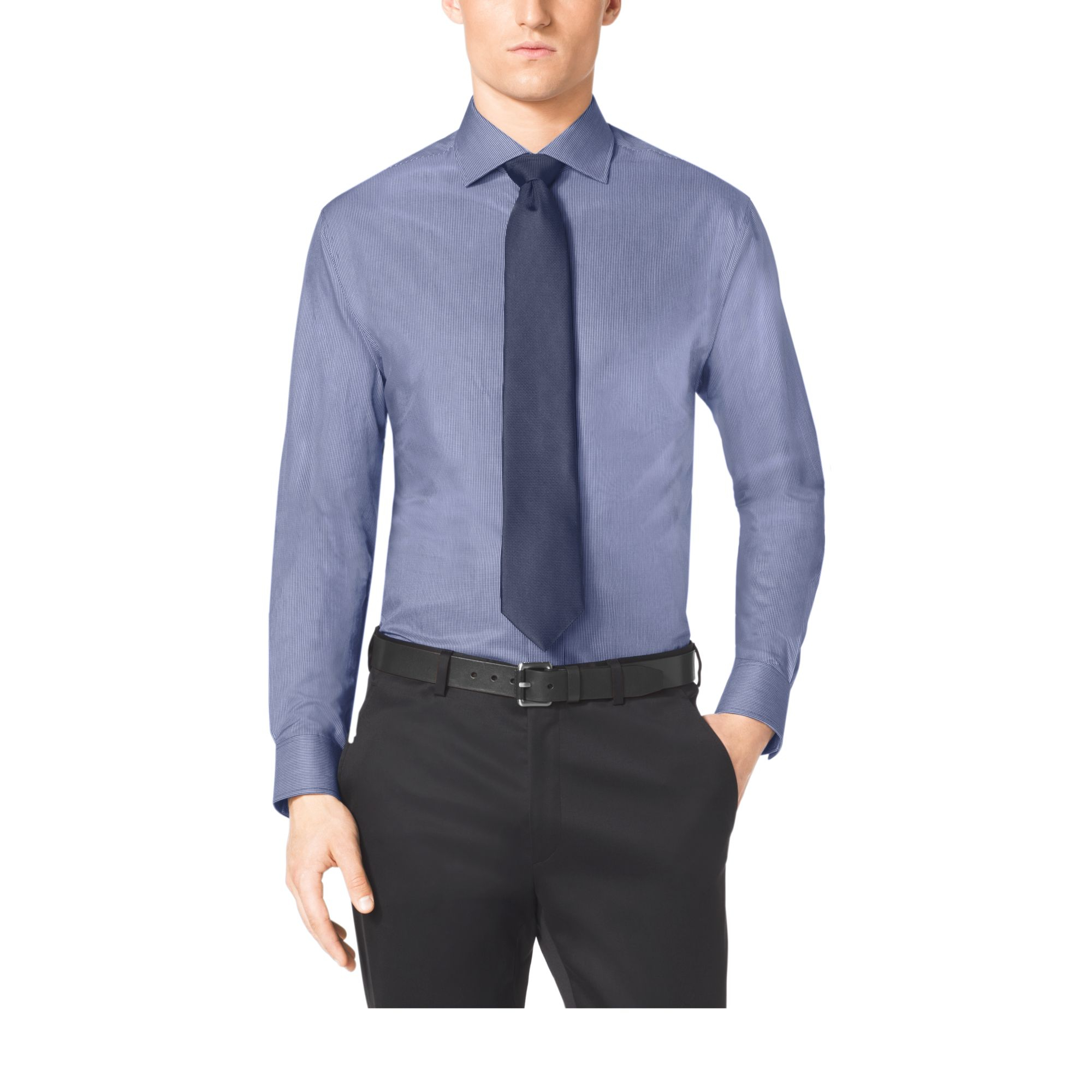 Michael kors spread collar cotton dress shirt in gray for for Men s spread collar shirts