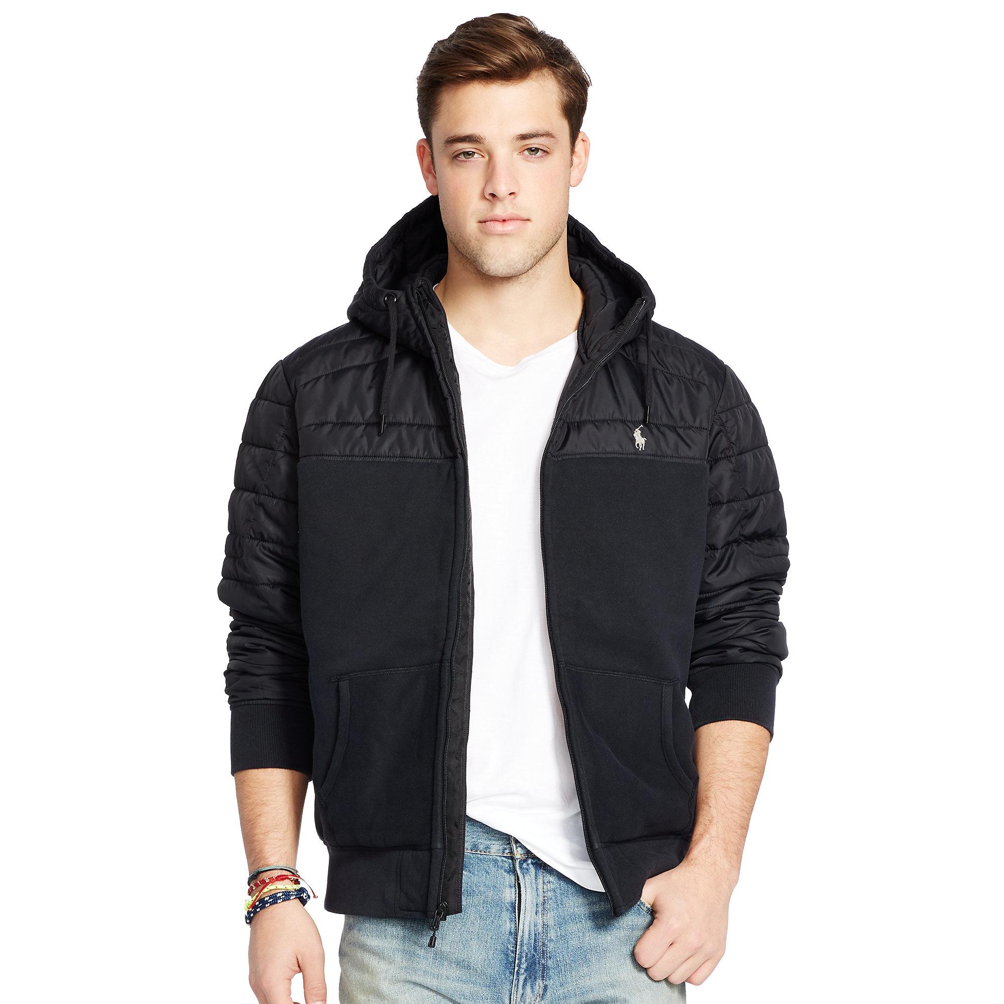 225d5344f Polo Ralph Lauren Paneled Fleece Hoodie in Black for Men - Lyst