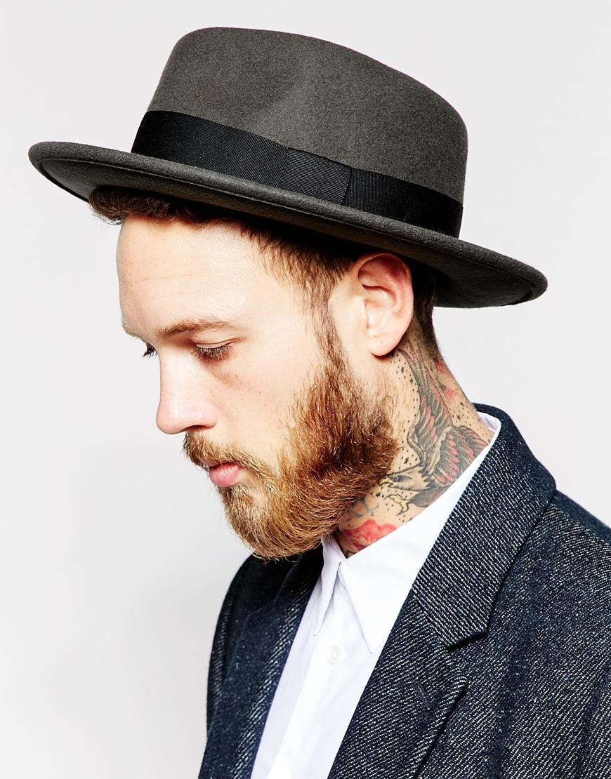 Lyst - ASOS Pork Pie Hat In Charcoal Felt With Wide Brim in Black ... 2f0ee34e020