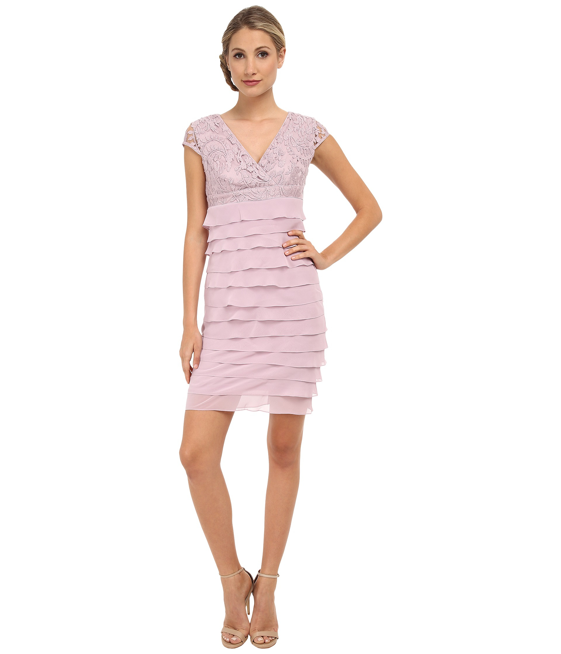 Adrianna papell Lace Surplice Top Tiered Sheath Dress in Pink | Lyst
