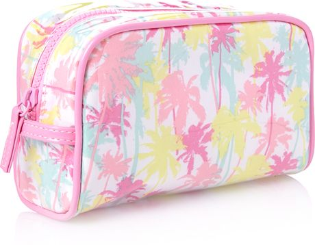 Forever 21 Pastel Palm Cosmetic Bag In Pink Pink Multi
