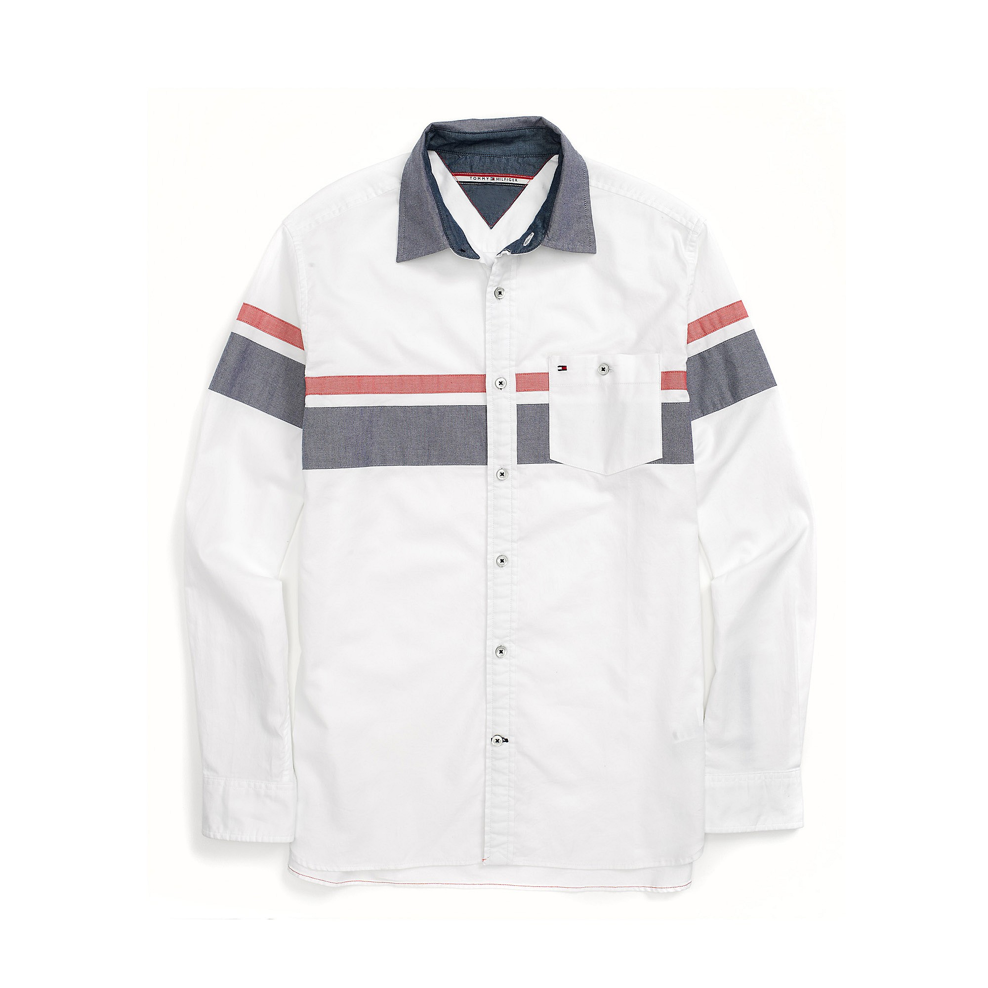 Tommy Hilfiger Custom Fit Chest Stripe Shirt In White For