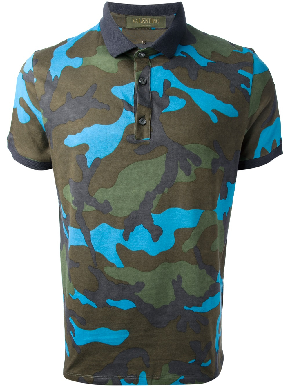Valentino camouflage polo shirt in green for men blue lyst for Camo polo shirts for men