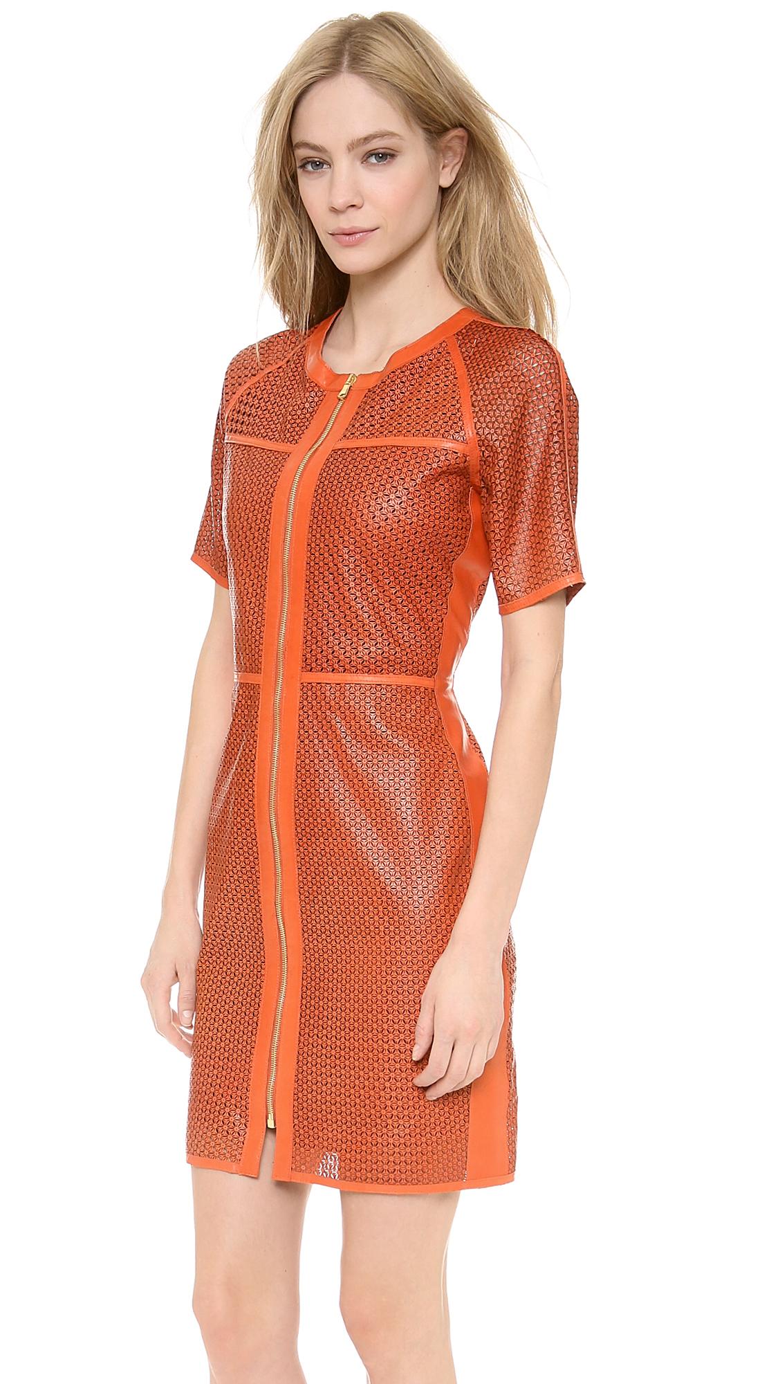 Lyst Veronica Beard Lasercut Star Leather Dress In Orange