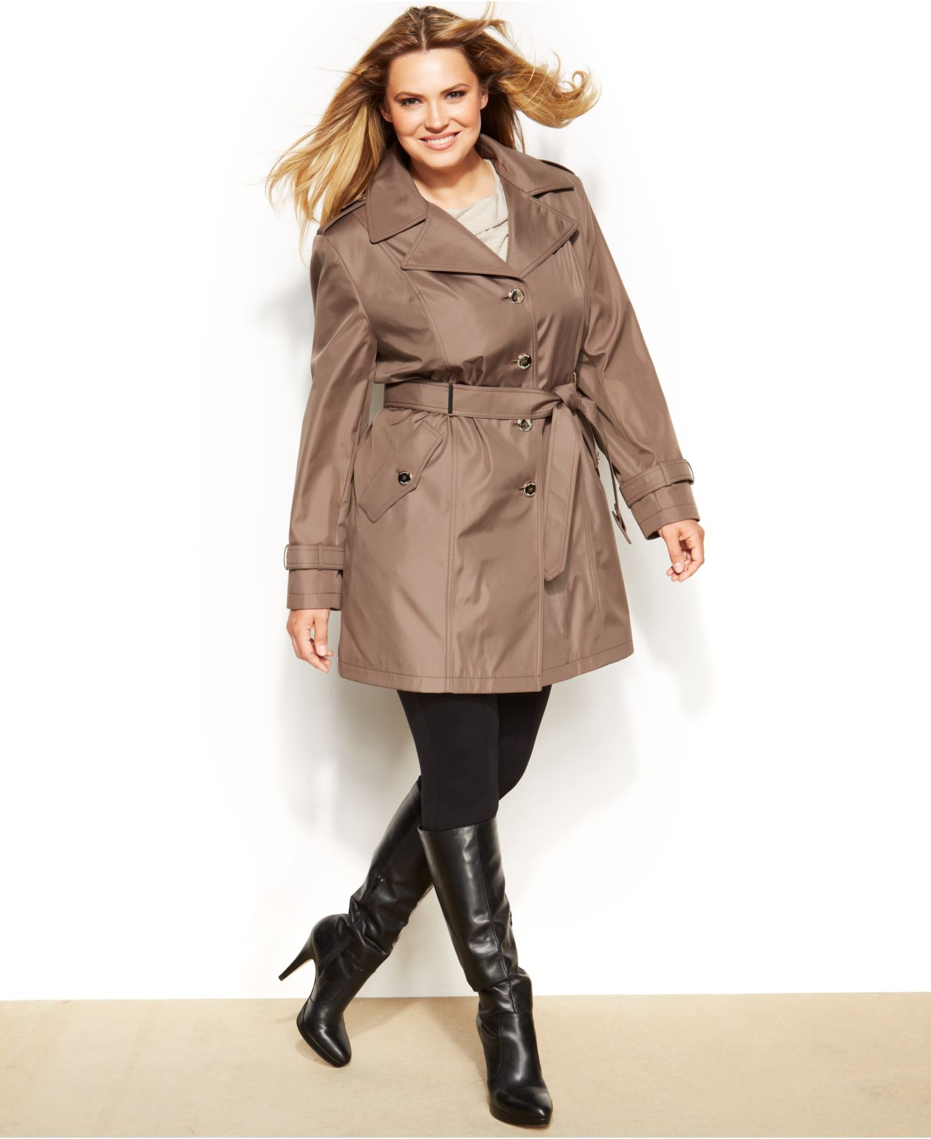 Calvin Klein Plus Size Belted Trench Coat in Brown - Lyst