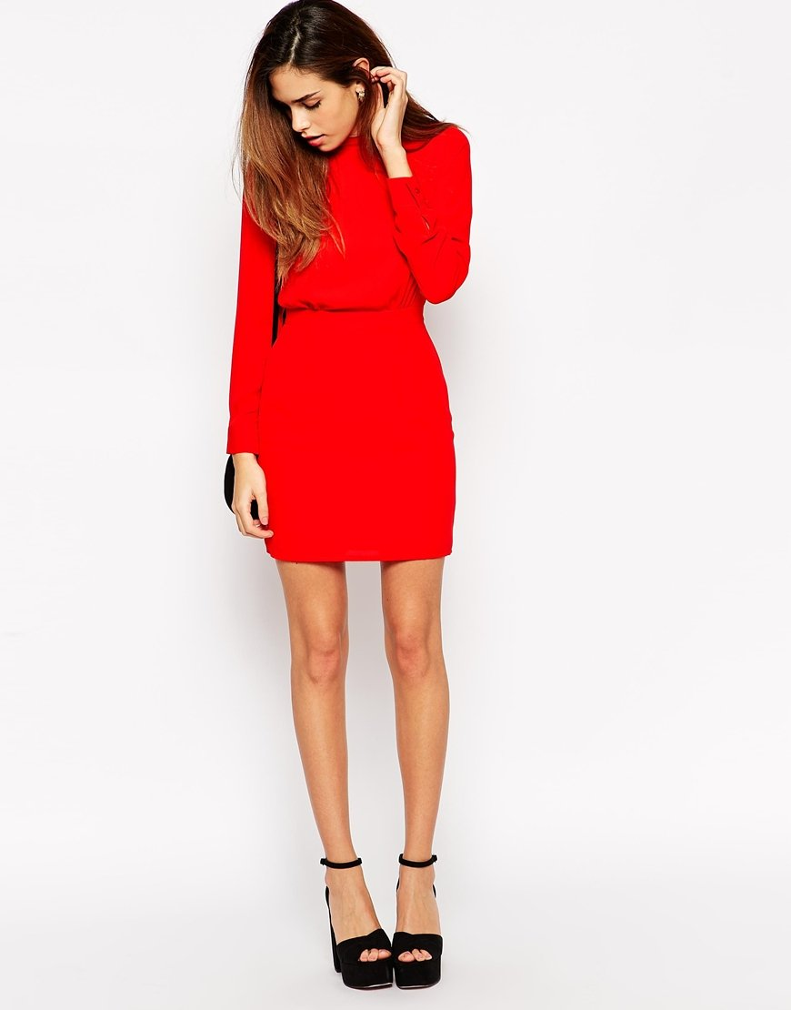 Asos Petite Mini Dress With High Neck in Red   Lyst
